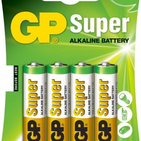 BATTERIE GP SUPER STILO ALKALINE 1.5V 4PZ